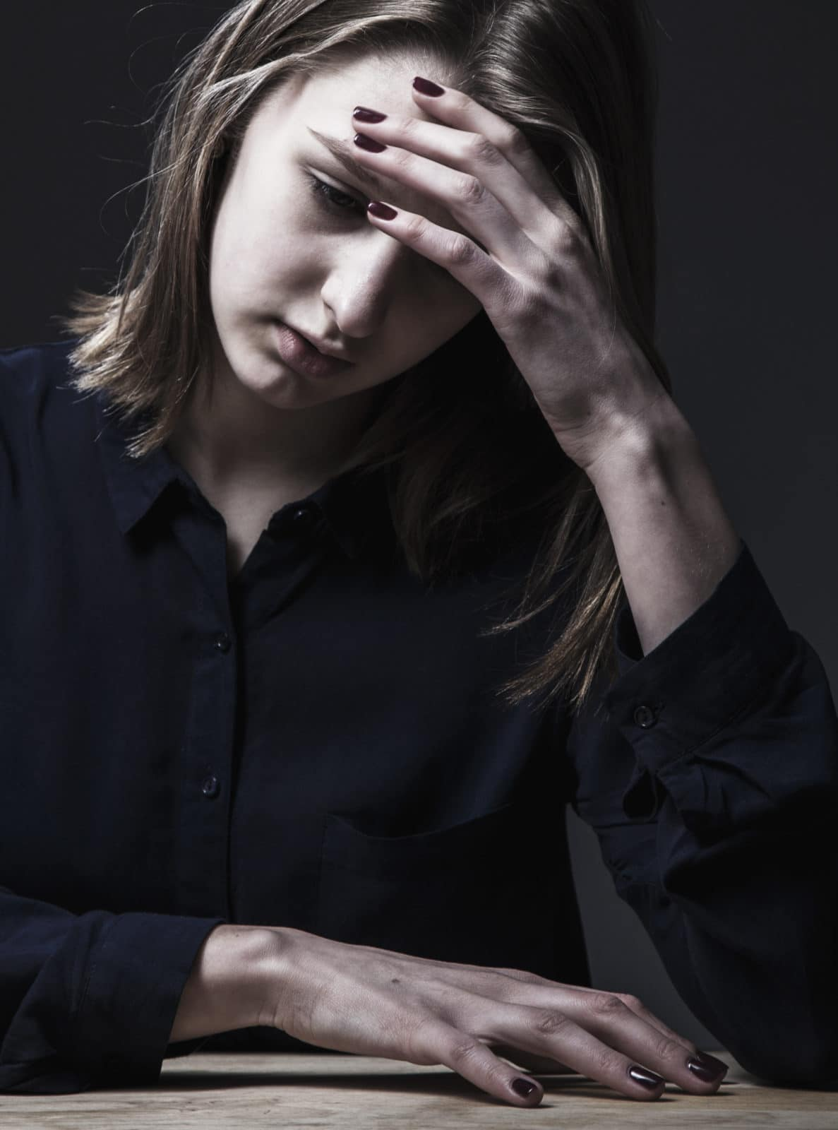 Woman in depression alone with problems (difficulties ...